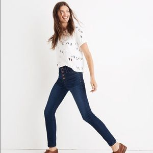 """NWOT Madewell 9"""" Rise Skinny Jeans Button-Front"""